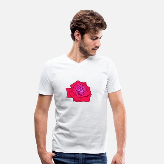 Rosary T-Shirts - Beautiful blooming rose - Men's Organic V-Neck T-Shirt white