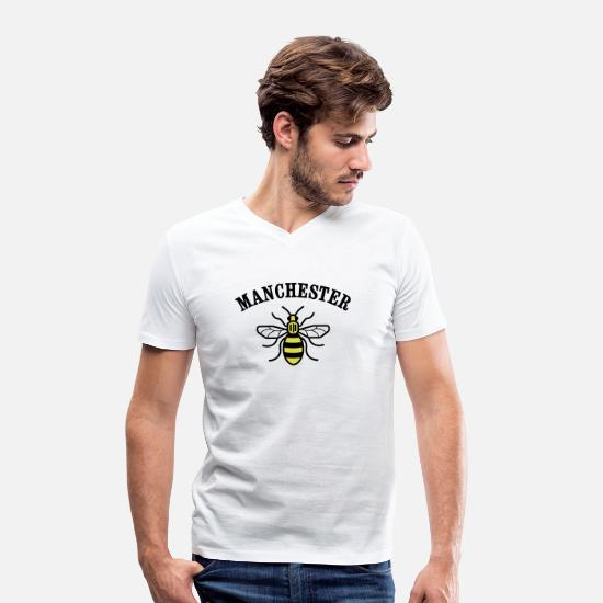 Manchester T-Shirts - MANCHESTER BEE  - Men's Organic V-Neck T-Shirt white