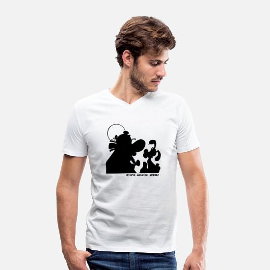 Asterix T-Shirts - Asterix & Obelix with Idefix shadow Women&apos - Men's Organic V-Neck T-Shirt white