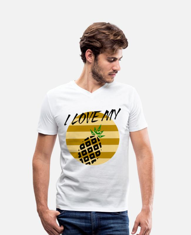 Yummy T-Shirts - I love my pineapple pineapple - Men's Organic V-Neck T-Shirt white