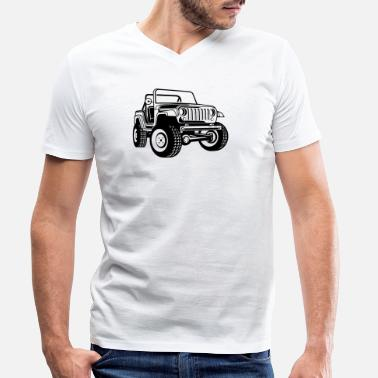 Off-road vehicle / Jeep SUV 03_black - Men's Organic V-Neck T-Shirt