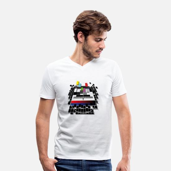 Tv T-Shirts - TV screen - Men's Organic V-Neck T-Shirt white