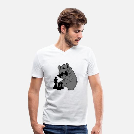 Chess T-Shirts - Evil Hamster - Men's Organic V-Neck T-Shirt white