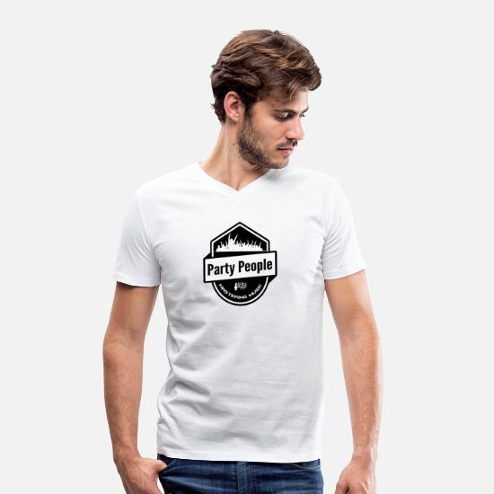 Dancing T-shirts - Party People - Mastering Music - Clubbing Disco n1 - T-shirt med V-ringning herr vit