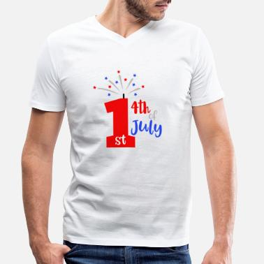 Military 1st 4th Of July Patriotic American - Men's Organic V-Neck T-Shirt