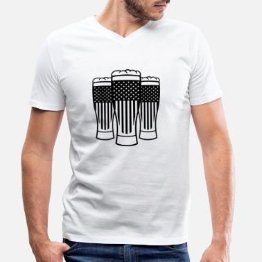 Beer party friends usa america united states beer glass - Men's Organic V-Neck T-Shirt