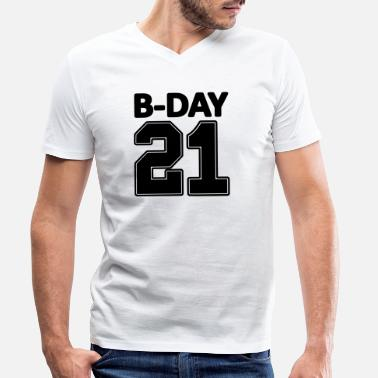 Birthday Number 21 21st birthday bday number numbers jersey - Men's Organic V-Neck T-Shirt