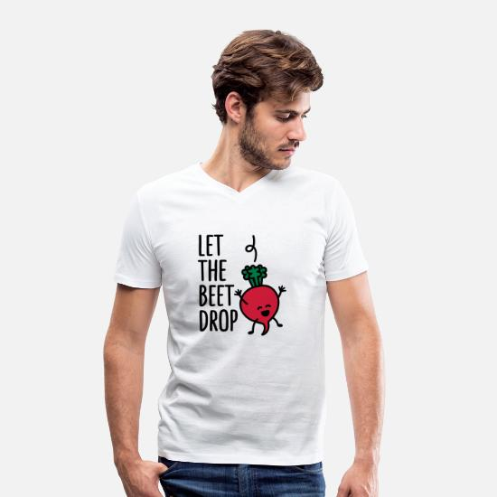 Vegetarian T-Shirts - Let the beet drop - Men's Organic V-Neck T-Shirt white