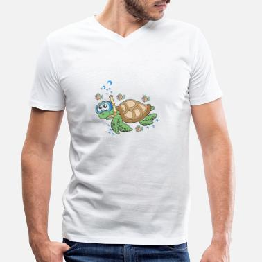 Diving diver turtle underwater - Men's Organic V-Neck T-Shirt