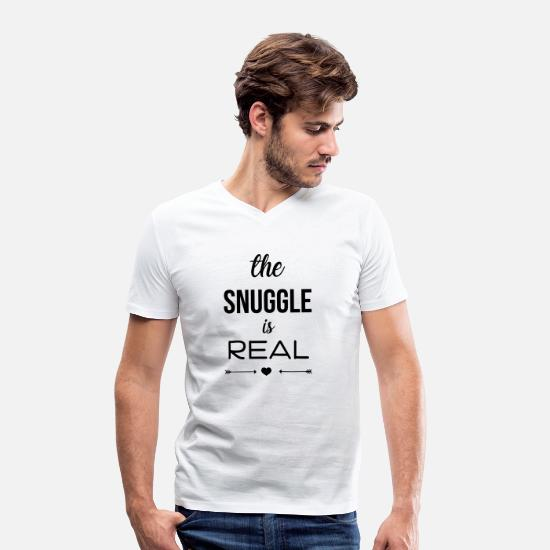 Cuddle T-Shirts - The snuggle is real - Men's Organic V-Neck T-Shirt white
