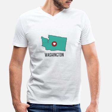 Washington Washington State Herz - T-shirt med V-ringning herr
