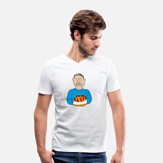 Birthday T-Shirts - Birthday | Happy Birthday Cake Candles Cake - Men's Organic V-Neck T-Shirt white