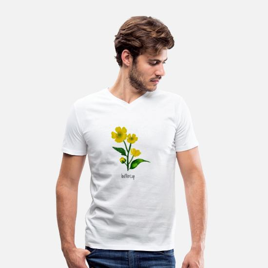 Bee T-Shirts - Buttercup Flower - Men's Organic V-Neck T-Shirt white
