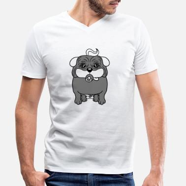 Master baby child diaper pacifier pug small fat dog puppy - Men's Organic V-Neck T-Shirt
