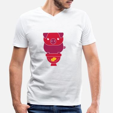 Wc PIG ON THE WC - Men's Organic V-Neck T-Shirt
