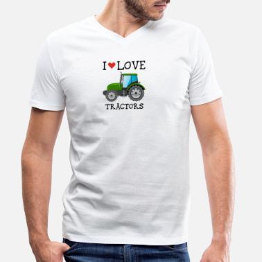 9f3e53a3 Traktor I LOVE TRAKTORER - T-skjorte med V-hals for menn