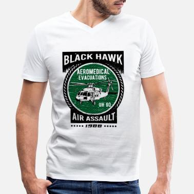 Black Hawk Black Hawk Hélicoptère Air Force - T-shirt bio col V Homme