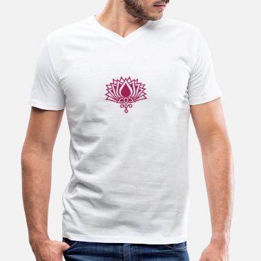 Silt LOTUS FLOWER/ c / symbol of the enlightenment / - T-shirt med V-udskæring mænd