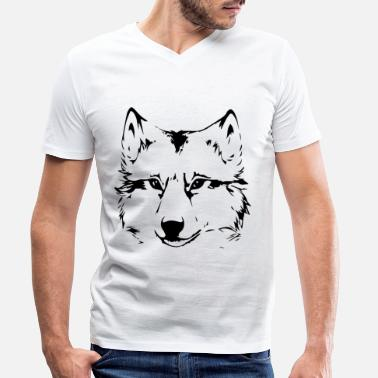 Illustration Wolf Head Wolf Gift Idea Dog Head - Men's Organic V-Neck T-Shirt
