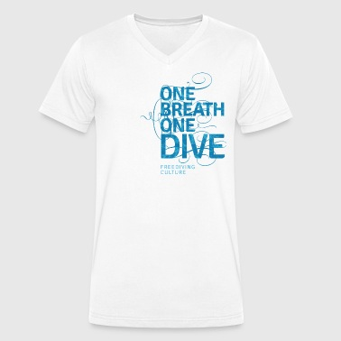 One Breath One Dive - Freediving Culture - Men's Organic V-Neck T-Shirt by Stanley & Stella