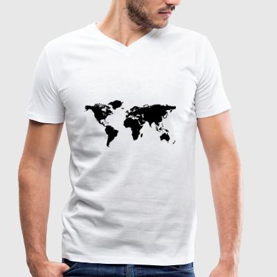 map of the world - Men's Organic V-Neck T-Shirt by Stanley & Stella