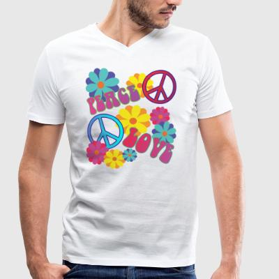 love peace hippie flower power - Men's Organic V-Neck T-Shirt by Stanley & Stella
