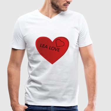 Heart With lettering LEA LOVE - Men's Organic V-Neck T-Shirt by Stanley & Stella