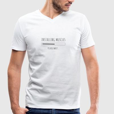 muscles in progress please wait ... black - Men's Organic V-Neck T-Shirt by Stanley & Stella