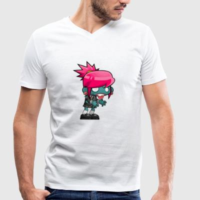 Pinky Girl Zombie - Men's Organic V-Neck T-Shirt by Stanley & Stella