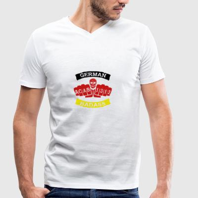 German badass germany football hooligan tattoo - Men's Organic V-Neck T-Shirt by Stanley & Stella