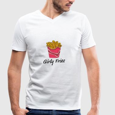 girly Fries - Men's Organic V-Neck T-Shirt by Stanley & Stella