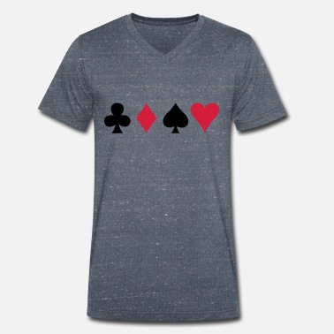 Sexy Poker ALL FOUR poker cards card suits in a row - Men's Organic V-Neck T-Shirt by Stanley & Stella