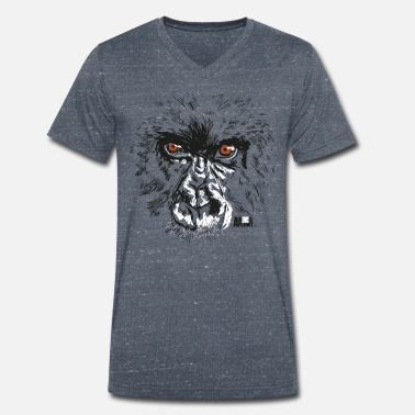 Planet Animal Planet Primates Apes Gorilla Portrait - Men's Organic V-Neck T-Shirt
