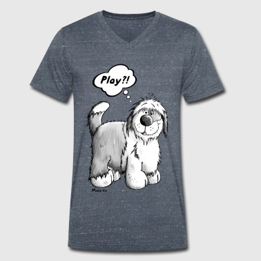 Playing Old English Sheepdog - Men's Organic V-Neck T-Shirt by Stanley & Stella
