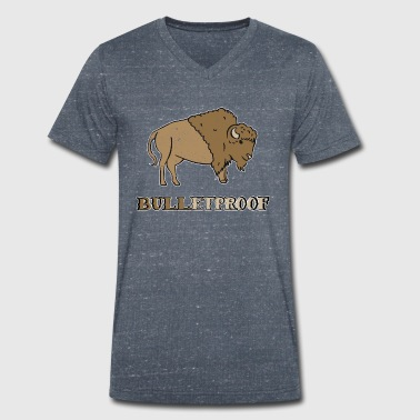 Bulletproof Bison Buffalo Gift - Men's Organic V-Neck T-Shirt by Stanley & Stella