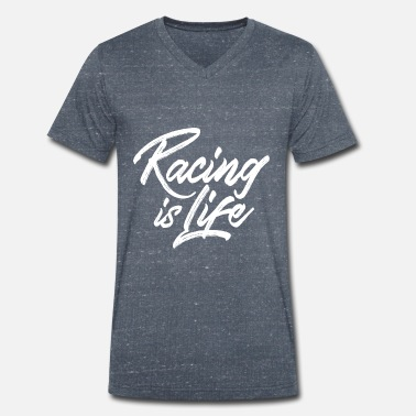 Racing is life - T-shirt bio col V Homme