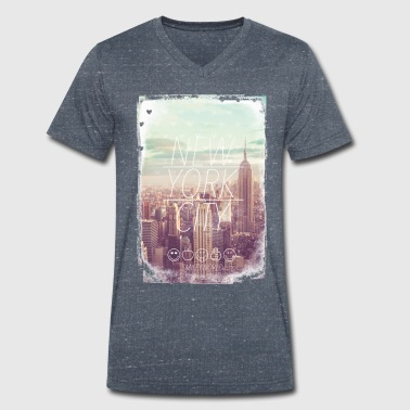 New York Smileyworld 'New York City' - Camiseta ecológica hombre con cuello de pico de Stanley & Stella