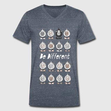 Caricature Be Different Sheep - Men's Organic V-Neck T-Shirt by Stanley & Stella