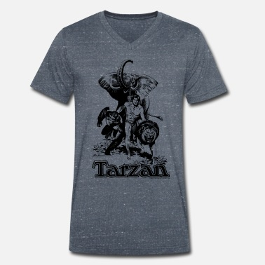 Tarzan Elephant Apes Lion Fight - Men's Organic V-Neck T-Shirt