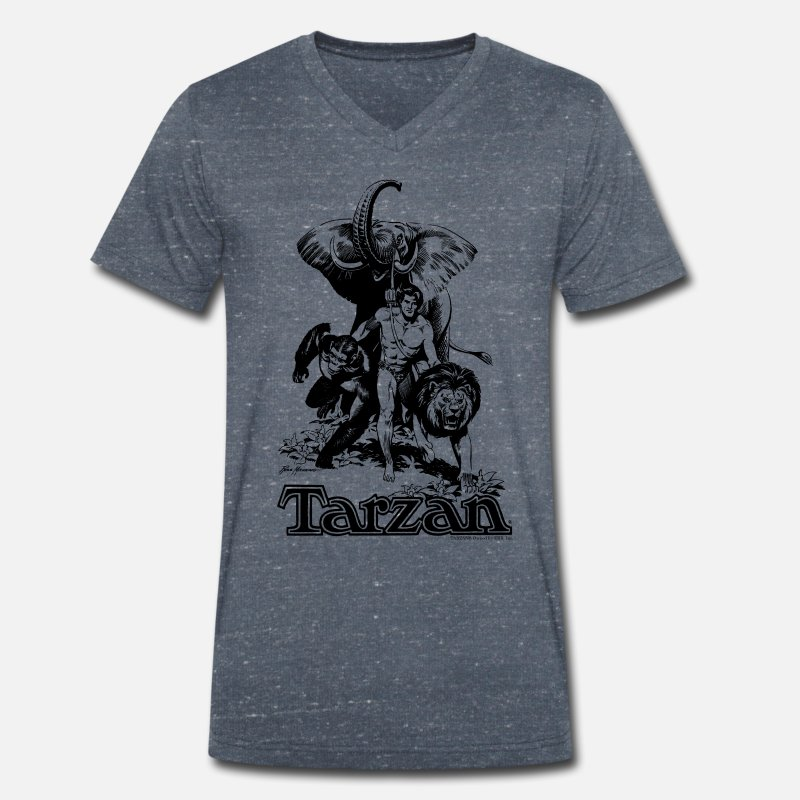 Officialbrands T-Shirts - Tarzan with elephant, lion and apes - Men's Organic V-Neck T-Shirt heather navy
