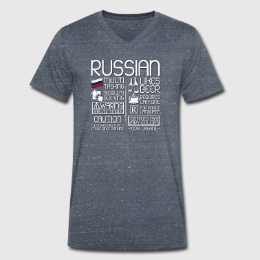 Russian Language Russian Traits - Men's Organic V-Neck T-Shirt by Stanley & Stella