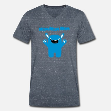 Om Nom Nom Om nom nom nom - Funny & Cute Monster - Men's Organic V-Neck T-Shirt by Stanley & Stella