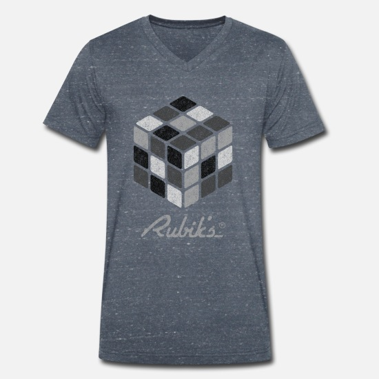 Officialbrands T-Shirts - Rubik's Cube Black-And-White Print - Men's Organic V-Neck T-Shirt heather navy