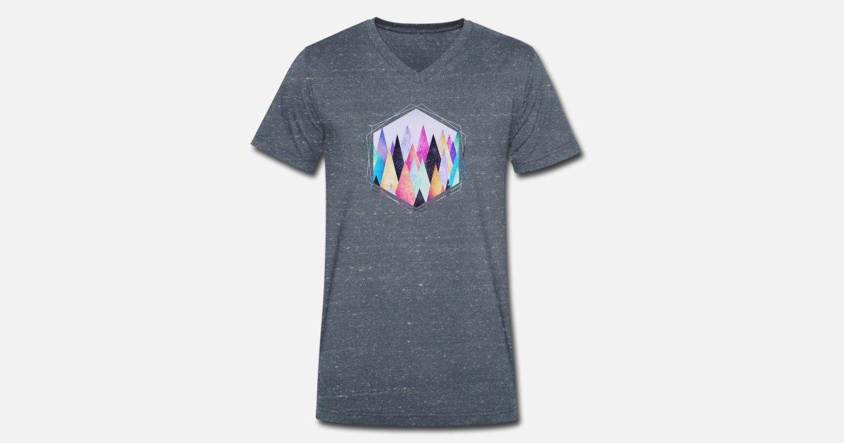 Triángulos Hipster Geometría Resumen Montañas Camiseta Con Cuello
