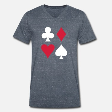 Sexy Poker ALL FOUR poker cards card suits in a square - Men's Organic V-Neck T-Shirt by Stanley & Stella