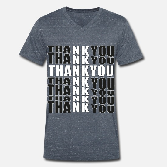 Think T-Shirts - Thank you in black and white design believing Christians - Men's Organic V-Neck T-Shirt heather navy