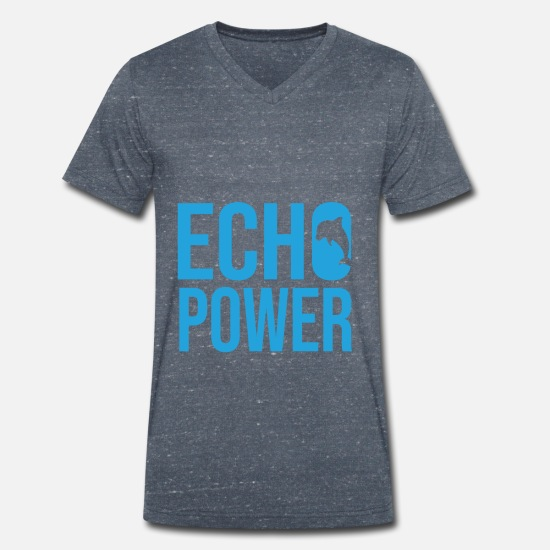 Vintage T-Shirts - Echo Power Delphin Wasser Fisch - Men's Organic V-Neck T-Shirt heather navy