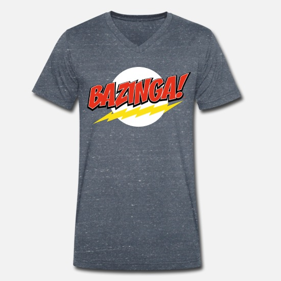 Big T-shirts - The Big Bang Theory Bazinga mannen slim fit T-shir - Mannen V-hals bio T-shirt navy gemêleerd