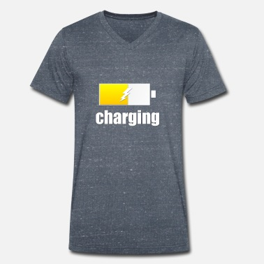 Charged Charging - Charging - Men's Organic V-Neck T-Shirt by Stanley & Stella