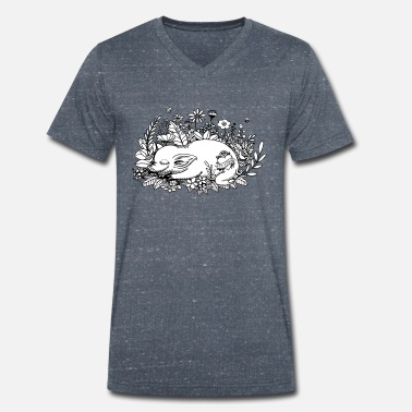 Flower Bed Pig on flower bed - Men's Organic V-Neck T-Shirt